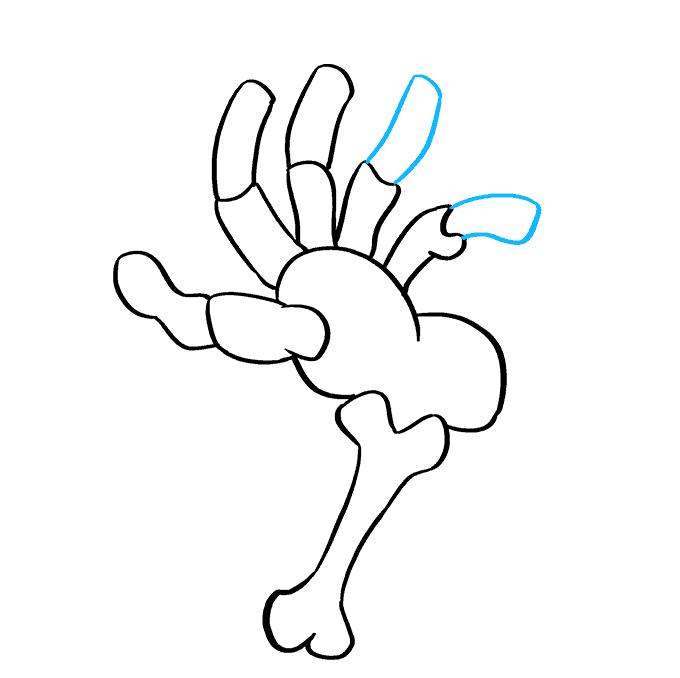 How to Draw Skeleton Hand: Step 8