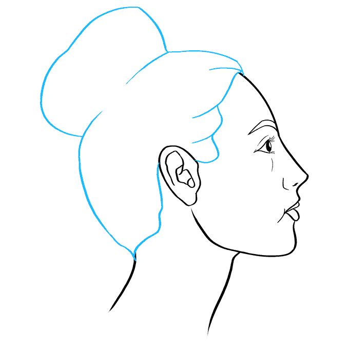 How to Draw a Woman Side Profile Step 08