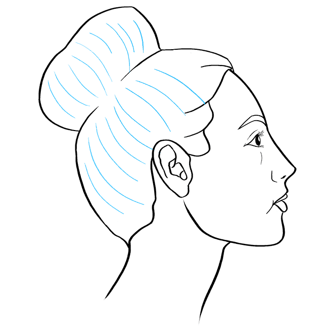 How to Draw a Woman Side Profile Step 09