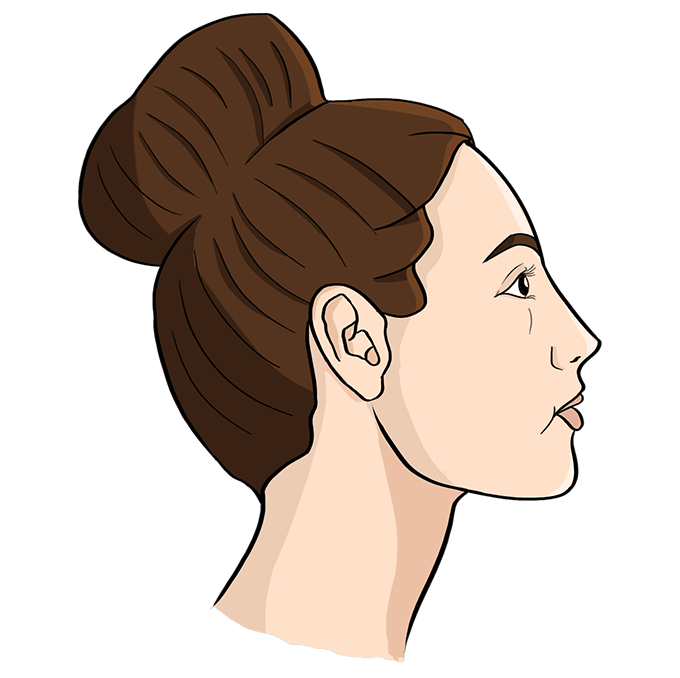 How to Draw Woman Side Profile: Step 10