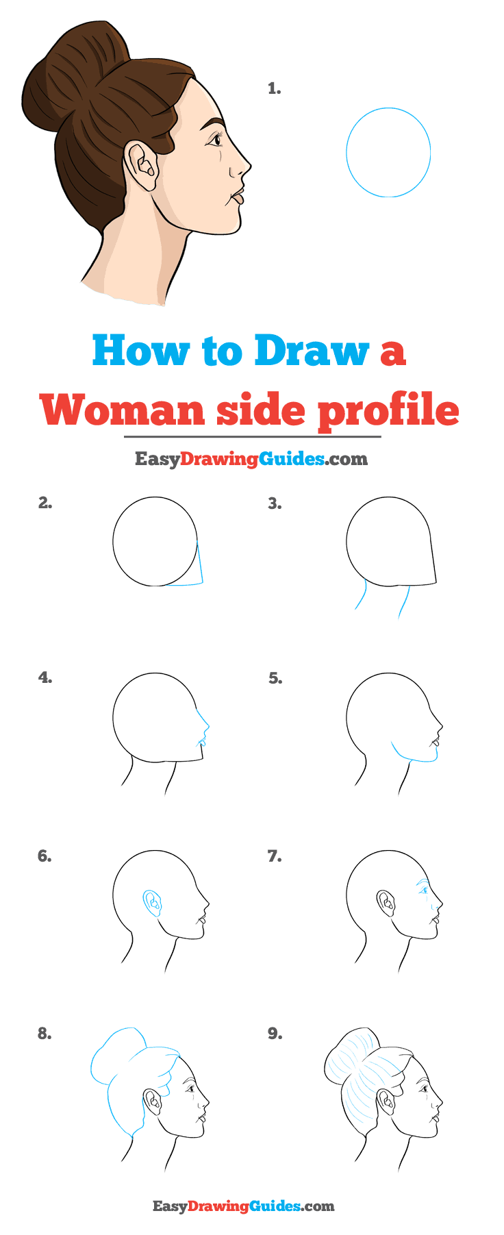 How to Draw a Woman Side Profile Step by Step Tutorial Image
