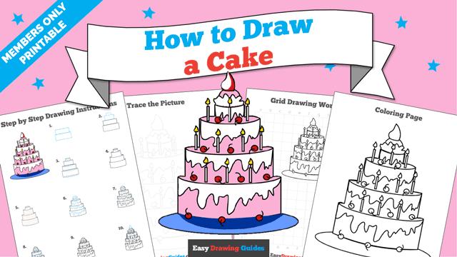 download a printable PDF of Cake drawing tutorial