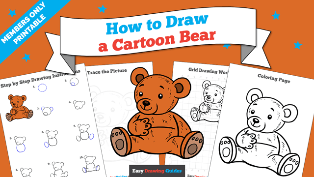 download a printable PDF of Cartoon Bear drawing tutorial