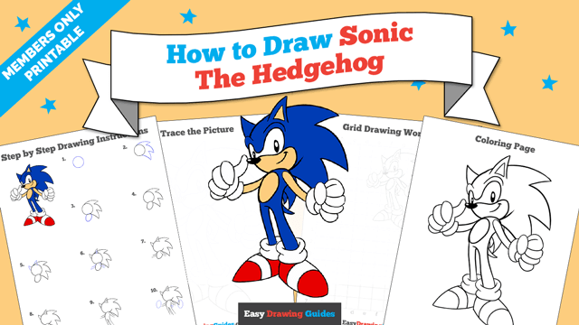 download a printable PDF of Sonic the Hedgehog drawing tutorial