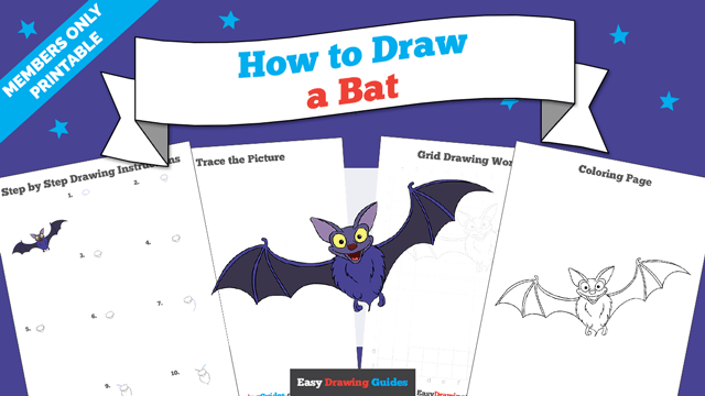 download a printable PDF of Bat drawing tutorial