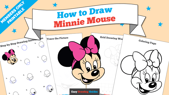 download a printable PDF of Minnie Mouse drawing tutorial