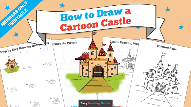 download a printable PDF of Cartoon Castle drawing tutorial