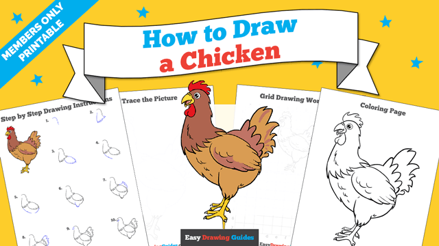 download a printable PDF of Chicken drawing tutorial