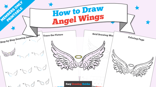 download a printable PDF of Angel Wings drawing tutorial
