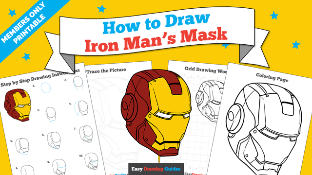 download a printable PDF of Iron Man's Mask drawing tutorial