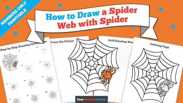 Printables thumbnail: How to draw a Spider Web with Spider