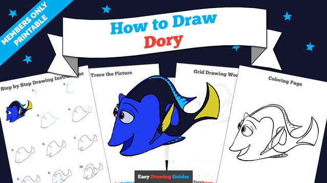 download a printable PDF of Dory drawing tutorial