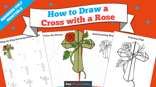 download a printable PDF of Cross with a Rose drawing tutorial