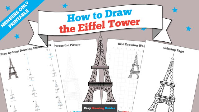 download a printable PDF of Eiffel Tower drawing tutorial
