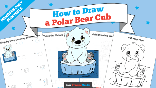 download a printable PDF of Polar Bear Cub drawing tutorial