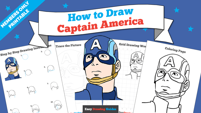 download a printable PDF of Captain America drawing tutorial