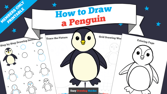 Printables thumbnail: How to draw a penguin