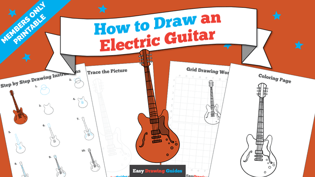 download a printable PDF of Guitar drawing tutorial