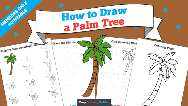 download a printable PDF of Palm Tree drawing tutorial