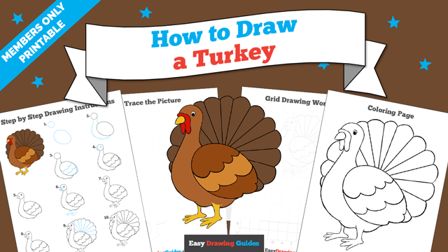 download a printable PDF of Turkey drawing tutorial