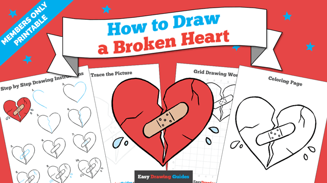 download a printable PDF of Broken Heart drawing tutorial