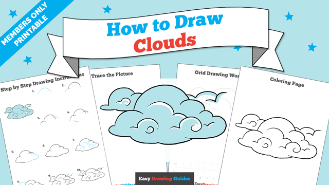 download a printable PDF of Clouds drawing tutorial