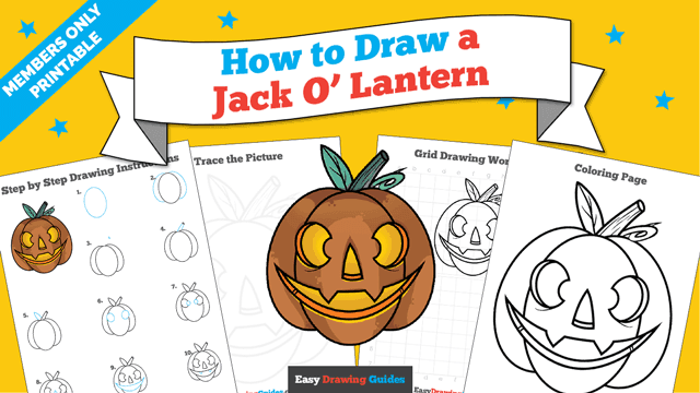 download a printable PDF of Jack O Lantern drawing tutorial