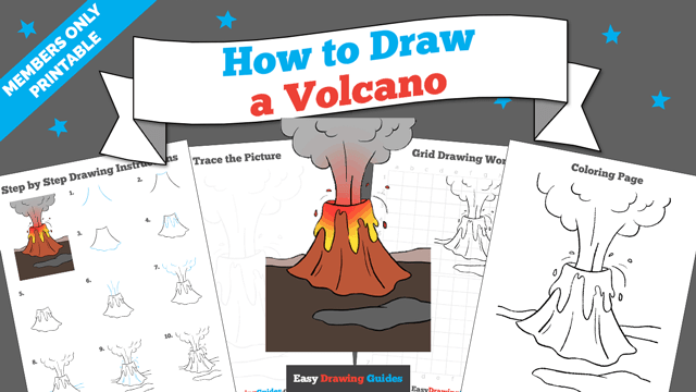 Printables thumbnail: How to draw a Volcano