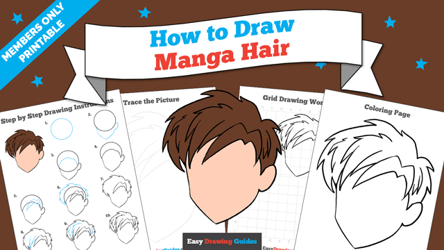 download a printable PDF of Manga Hair drawing tutorial