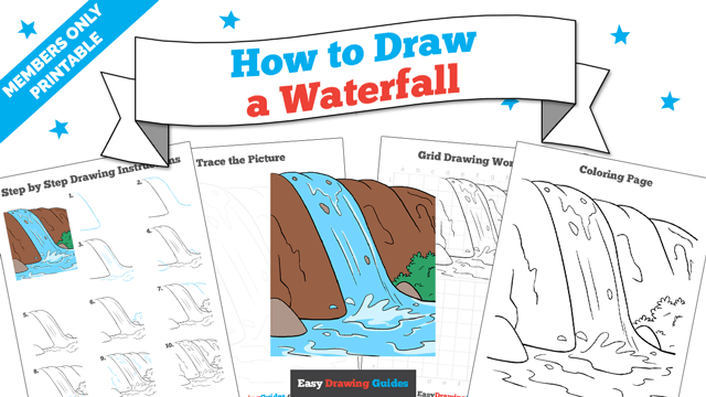 download a printable PDF of Waterfall drawing tutorial