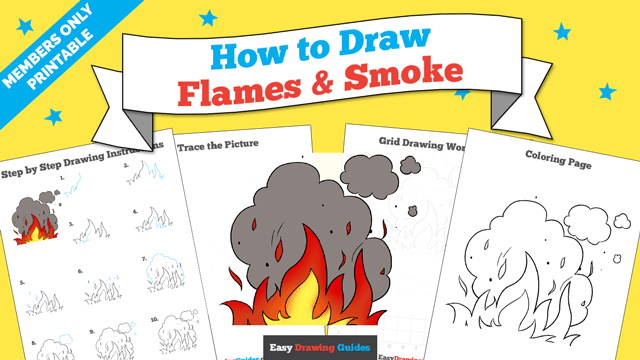 download a printable PDF of Flames and Smoke drawing tutorial