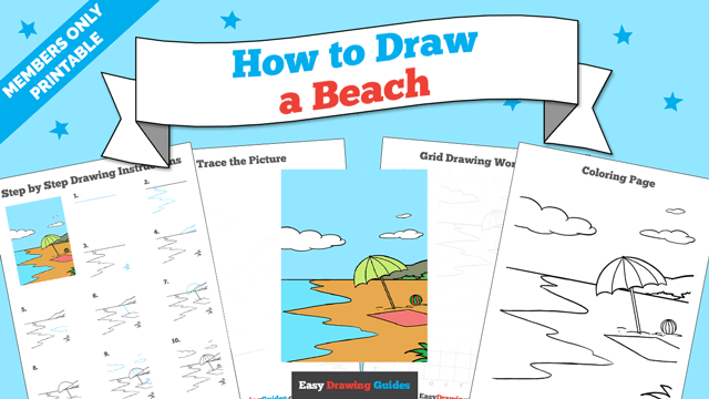 download a printable PDF of Beach drawing tutorial