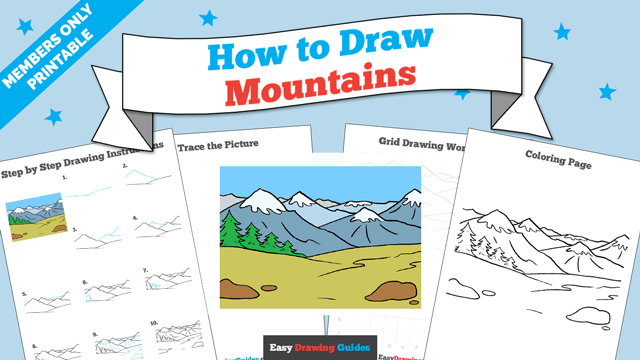 download a printable PDF of Mountains drawing tutorial