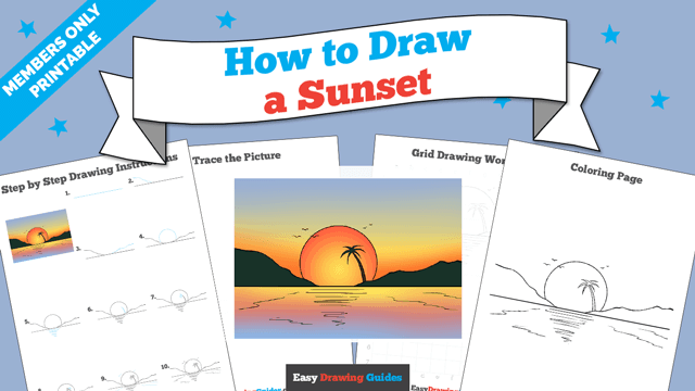 download a printable PDF of Sunset drawing tutorial