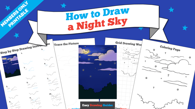 download a printable PDF of Night Sky drawing tutorial