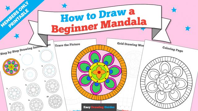 download a printable PDF of Beginner Mandala drawing tutorial