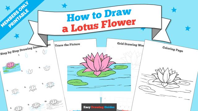 download a printable PDF of Lotus Flower drawing tutorial