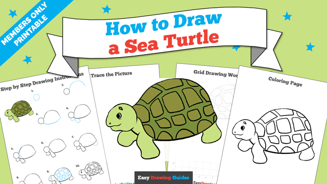 download a printable PDF of Sea Turtle drawing tutorial