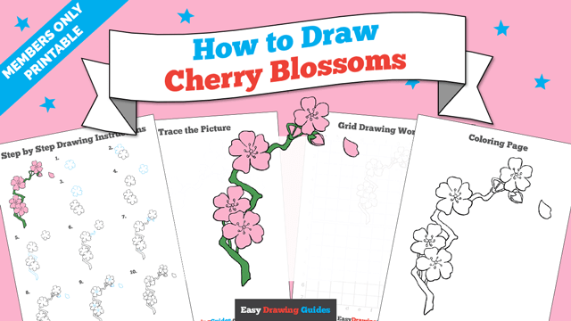 download a printable PDF of Cherry Blossoms drawing tutorial