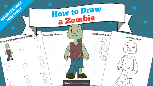 download a printable PDF of Zombie drawing tutorial
