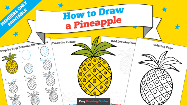 download a printable PDF of Pineapple drawing tutorial
