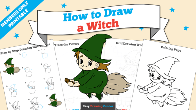 Printables thumbnail: How to draw a Witch