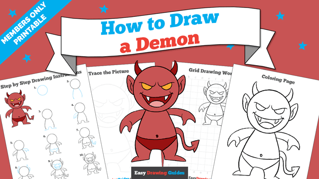 download a printable PDF of Demon drawing tutorial