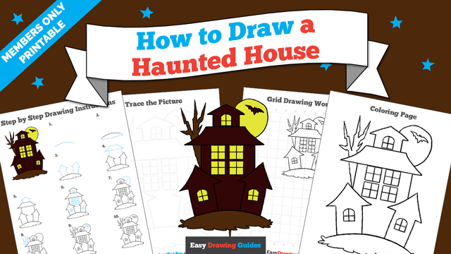 download a printable PDF of Haunted House drawing tutorial