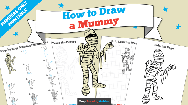 Printables thumbnail: How to draw a Mummy
