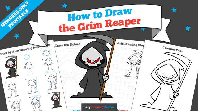 download a printable PDF of Grim Reaper drawing tutorial