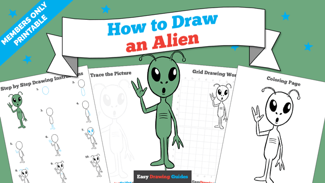 download a printable PDF of Alien drawing tutorial