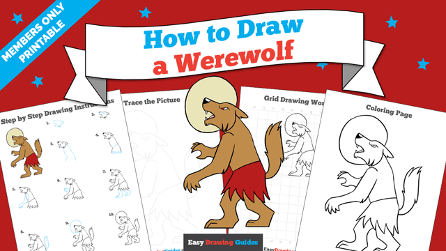download a printable PDF of Werewolf drawing tutorial