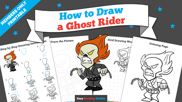 download a printable PDF of Ghost Rider drawing tutorial