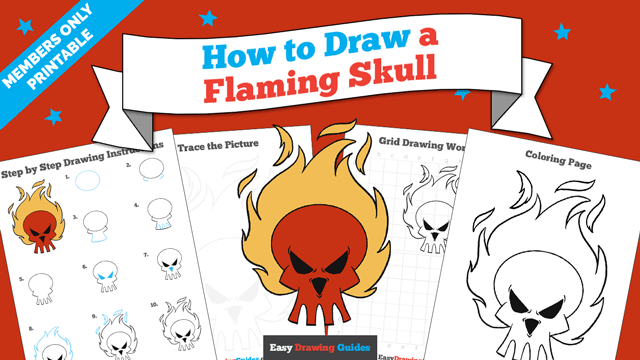 download a printable PDF of Flaming Skull drawing tutorial